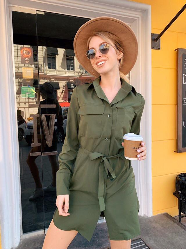 Модное женское летнее платье рубашка Хаки