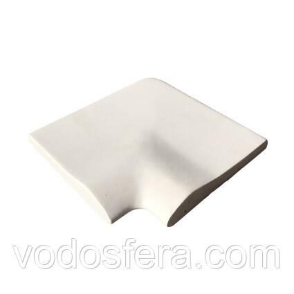 Aquazone Угловой копинговый камень Aquazone 320x400x50-25 мм, белый