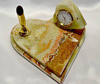 """Сердце с часами"" из оникса + подставка под ручку( 15х15 см)"