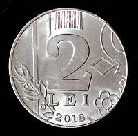 Монета Молдавии 2 лея 2018 г.