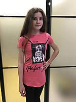 """Футболка подростковая для девочки  7-11 лет, с пайетками """"Perfect"""",желтый бирюза, фото 1"""