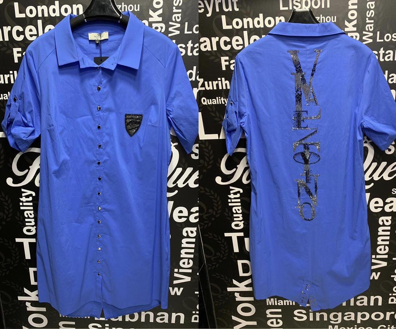 Платье-рубашка со стразами в стиле Valentino Батальная серия синее
