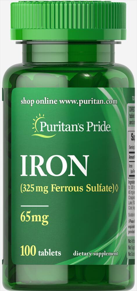 Iron Ferrous Sulfate 65 mg, 100 таблеток