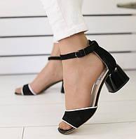 Модные женские замшевые босоножки на устойчивом невысоком квадратномкаблуке черные 2019 SV63KL00DI