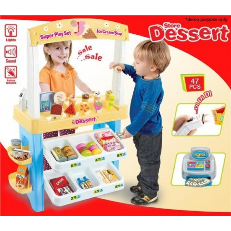 Большой Игровой набор Мой Магазин Супермаркет сладостей, прилавок, кассовый аппарат, сканер, продукты, 668-08