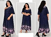 Удлиненное платье свободного фасона с принтом, с 66-72 размер, фото 1