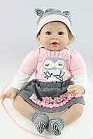Силиконовая Коллекционная Кукла Реборн Reborn Девочка ( Виниловая Кукла ) Высота 55 см. Арт.354, фото 1