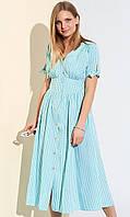 Коттоновое платье-рубашка в клетку. Модель 21105. Размеры 42-54