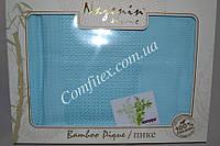 Махровая простынь Nazenin Bamboo Pique-Blue Бамбук (200х240) - Турция