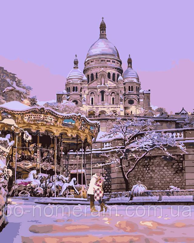 Раскраска для взрослых Поцелуй в заснеженном Париже ...