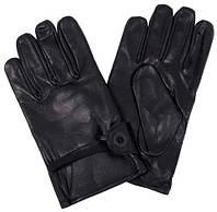 Кожанные перчатки с подкладкой, черные