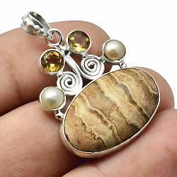 Кулон из серебра с песочной яшмой, 26*16 мм., серебро 925, 470ПЯ