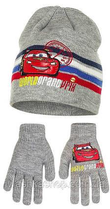 Демисезонный комплект, двойная шапка и перчатки р. 52 на мальчика Тачки, Cars, Disney / Pixar
