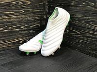 Бутсы футбольные Adidas Copa 19+FG/AG White без шнурков Белые (реплика)