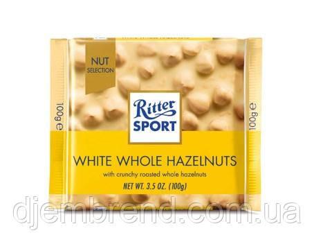 Риттер Спорт белый шоколад с цельными орехами