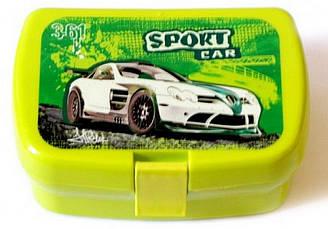 Ланч бокс 1й з вставою для 2х бутербродів+ ложка та виделка. Kidis Sport Car