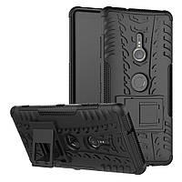 Чехол для Sony Xperia XZ3 / H9436 противоударный бампер с подставкой черный