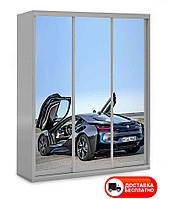 Шкаф купе 3Д трехдверный BMW 31, выбор цвета корпуса и рисунка