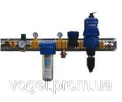 Вузол водопідготовки в зібраному вигляді з фільтром води, лічильником води, регулятором тиску та медикотором D