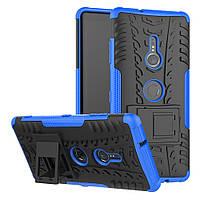 Чехол для Sony Xperia XZ3 / H9436 противоударный бампер с подставкой синий