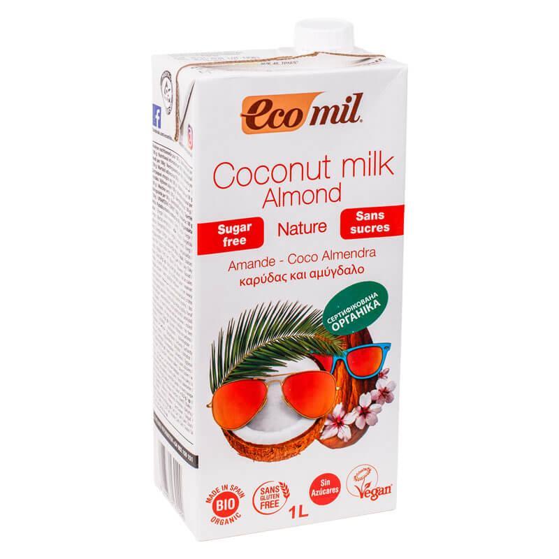 Молоко миндальное с кокосом без сахара, Ecomil