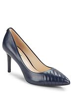 Женские оригинальные темно-синие  кожаные туфли на каблуке Karl Lagerfeld