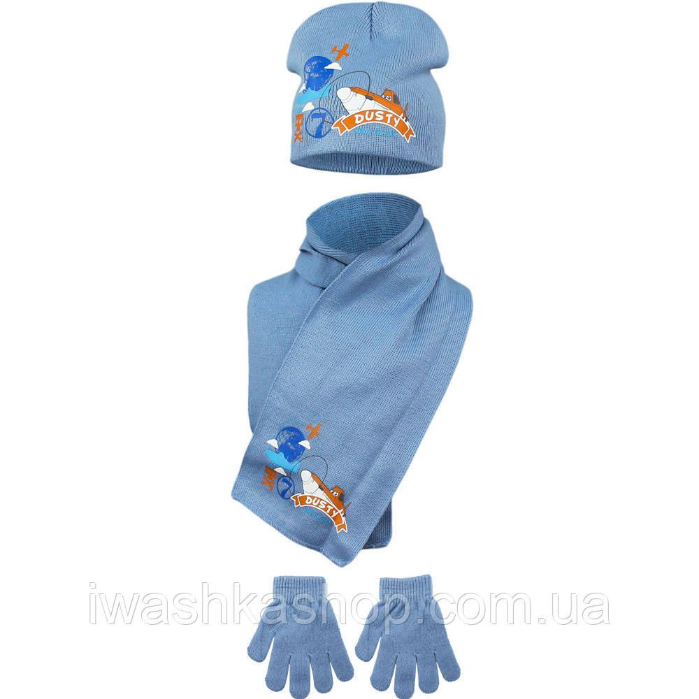 Демисезонный комплект, двойная шапка, перчатки, шарф р. 52 на мальчика Самолёты, Planes, Disney