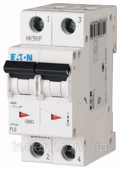 Автоматичний вимикач 6А, х-ка С, 2 полюс,6 кА PL6-C6/2