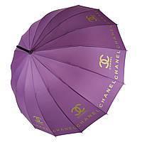 """Женский зонт-трость с логотипами брендов, полуавтомат от фирмы """"MAX"""", фиолетовый, 1001-2"""