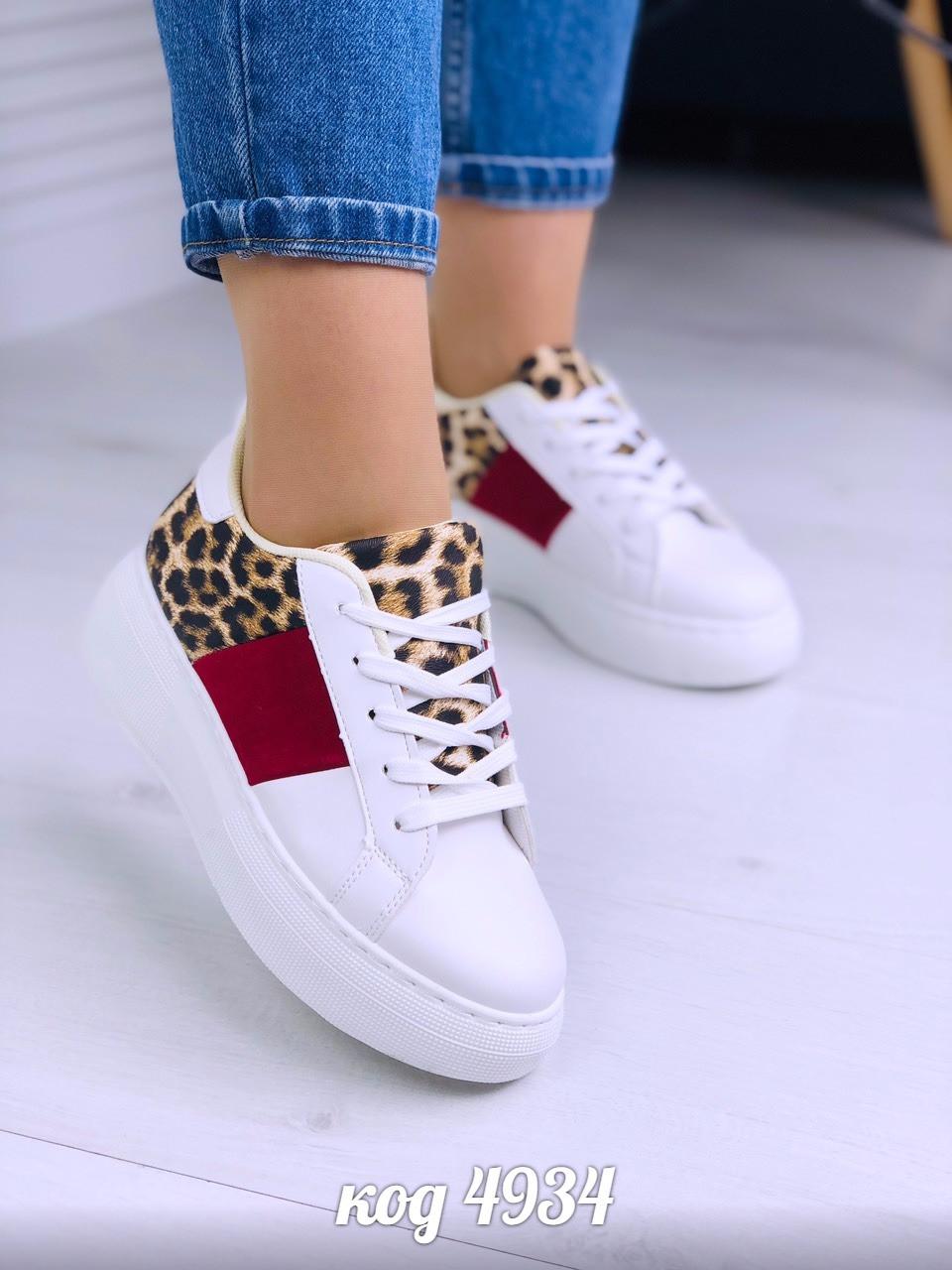 332b931b4e9baa Кеды криперы женские На широкую ножку на высокой белой платформе со  вставками леопардового принта - VK