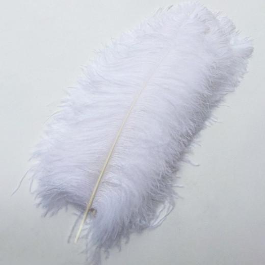 Большие страусиные перья белые 50-55 см для декора