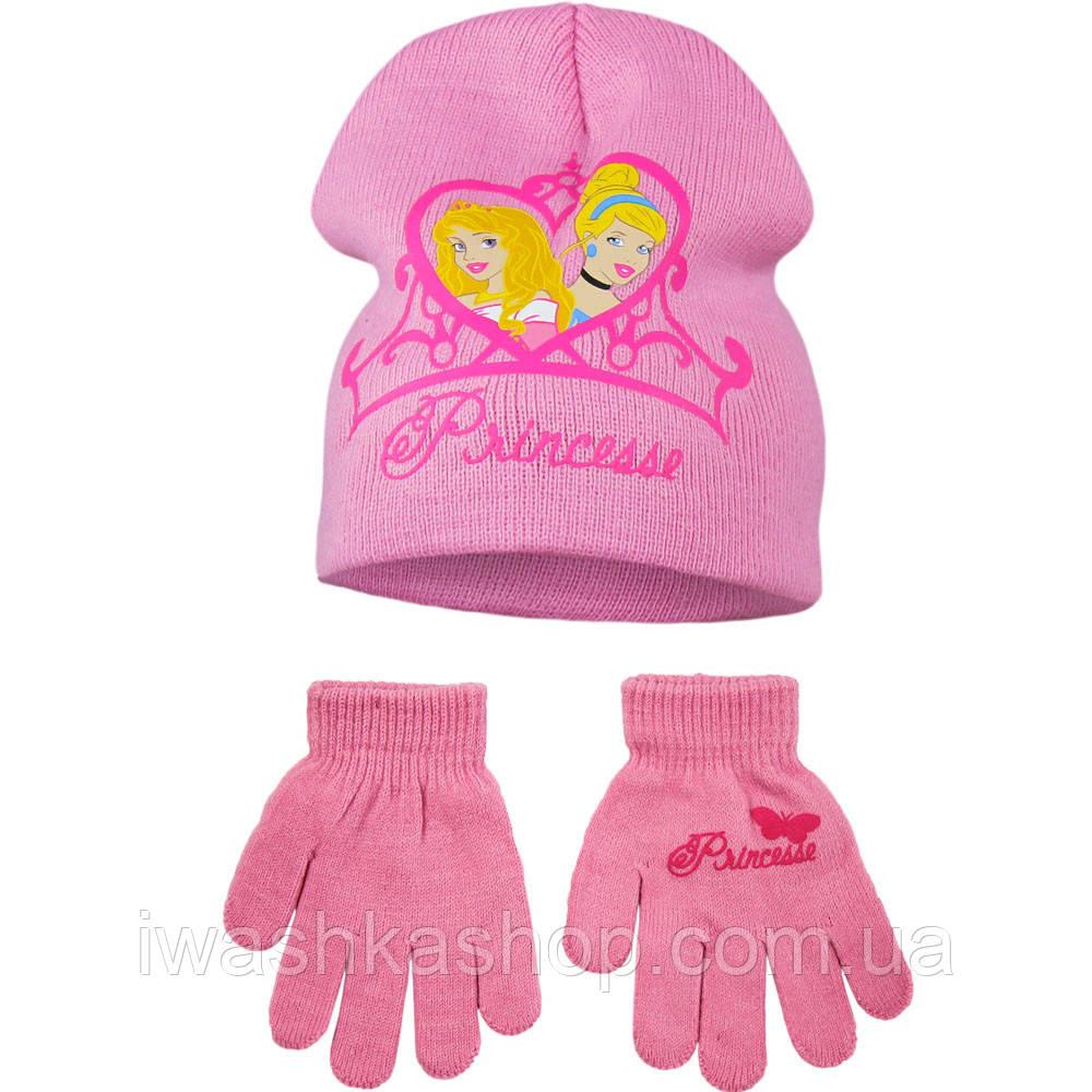 Демісезонний комплект, подвійна шапка і рукавички р. 54 на дівчаток, принцеси, Disney / Princess