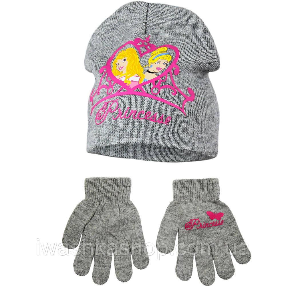 Демисезонный комплект, двойная шапка и перчатки р. 52 на девочек, принцессы, Disney / Princess