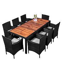 Комплект садовой мебели плетеной из ротанга и акации ESTEVAN Черный цвет
