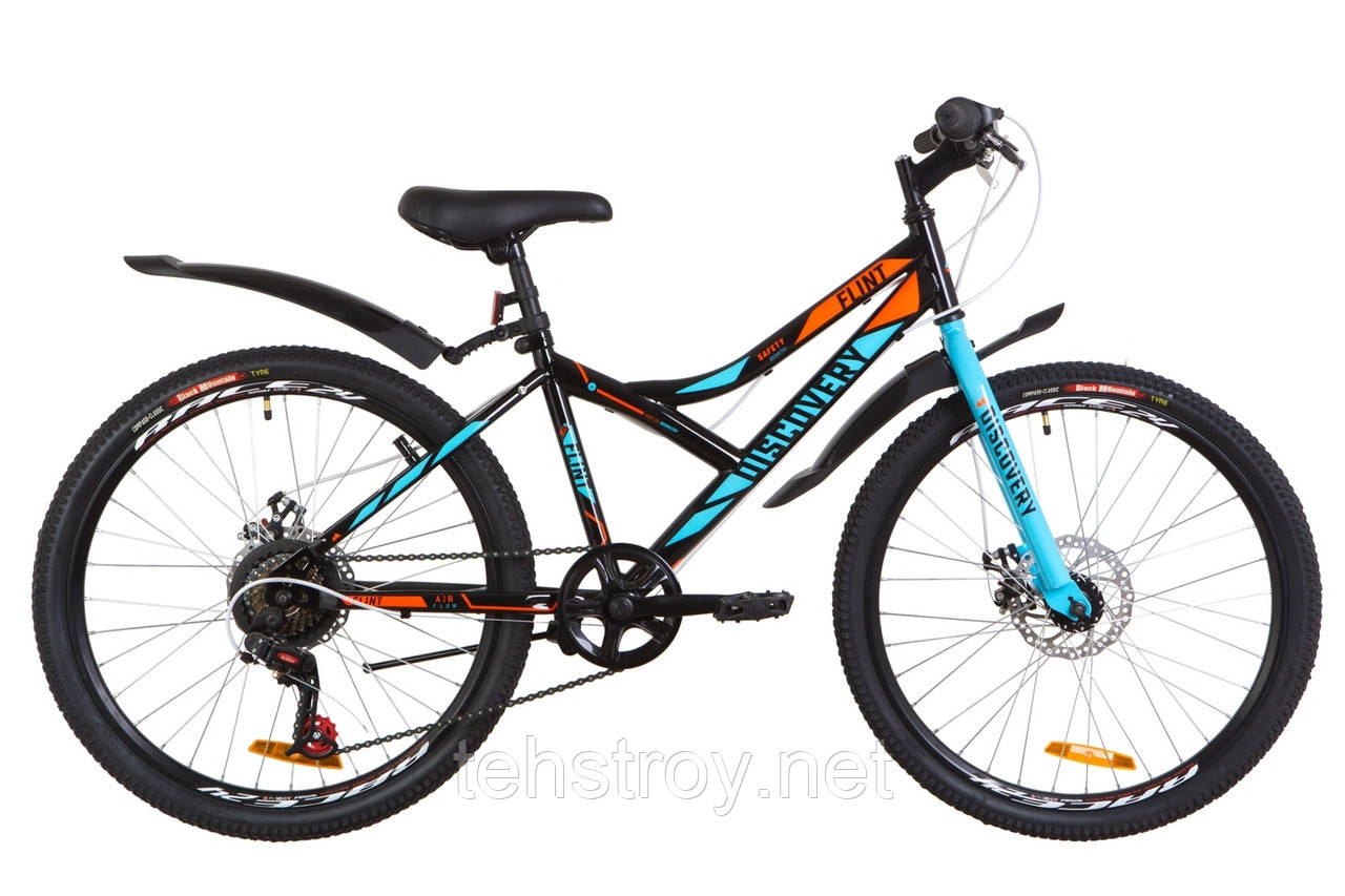 """Велосипед 24"""" Discovery FLINT 14G DD St с крылом Pl 2019 (черно-синий с оранжевым)"""