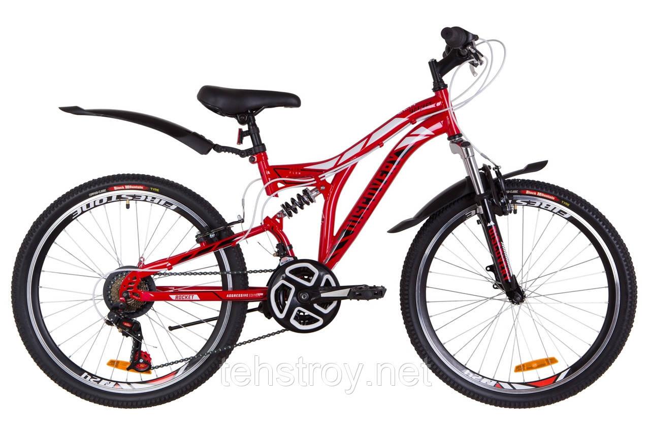 """Велосипед 24"""" Discovery ROCKET AM2 14G Vbr St с крылом Pl 2019 (красно-белый с черным)"""