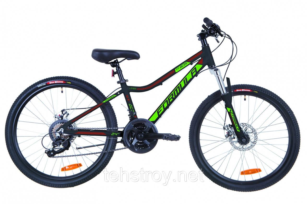"""Велосипед 24"""" Formula ACID 2.0 AM 14G DD Al 2019 (черно-зеленый с красным (м))"""