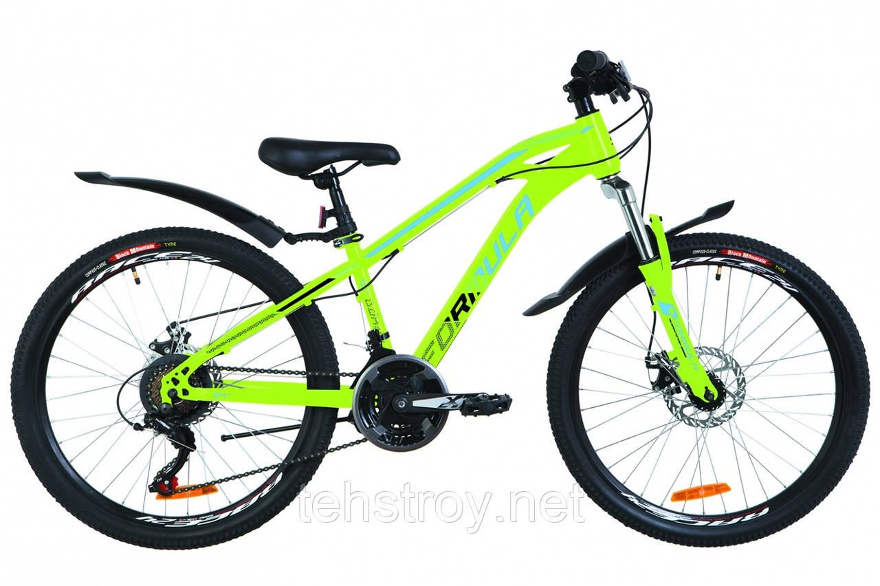 """Велосипед 24"""" Formula DAKAR AM 14G DD St с крылом Pl 2019 (салатно-синий)"""