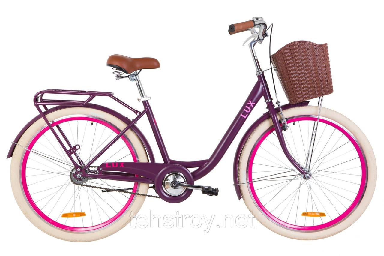 """Велосипед 26"""" Dorozhnik LUX 14G St с багажником зад St, с крылом St, с корзиной Pl 2019 (сливовый (м))"""