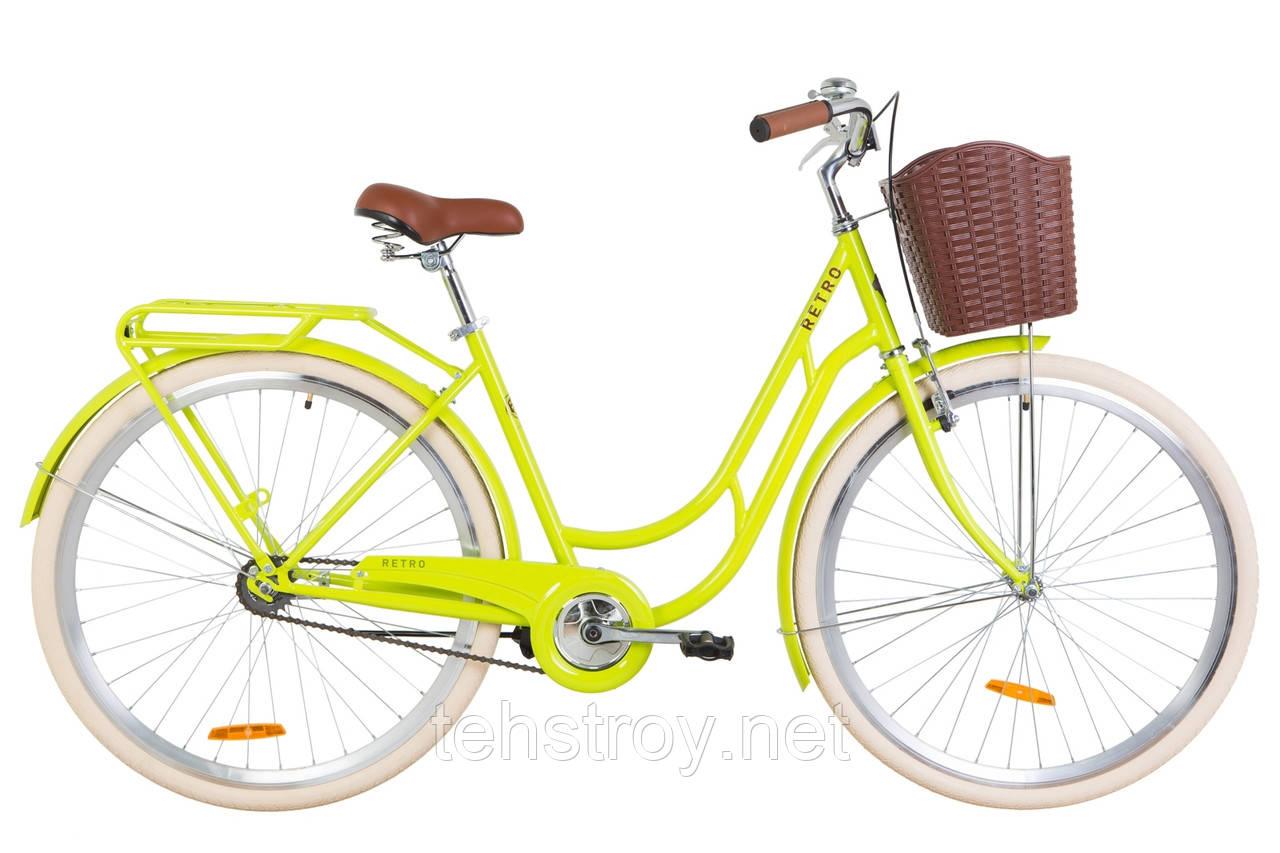 """Велосипед 28"""" Dorozhnik RETRO 14G St с багажником зад St, с крылом St, с корзиной Pl 2019 (салатный )"""
