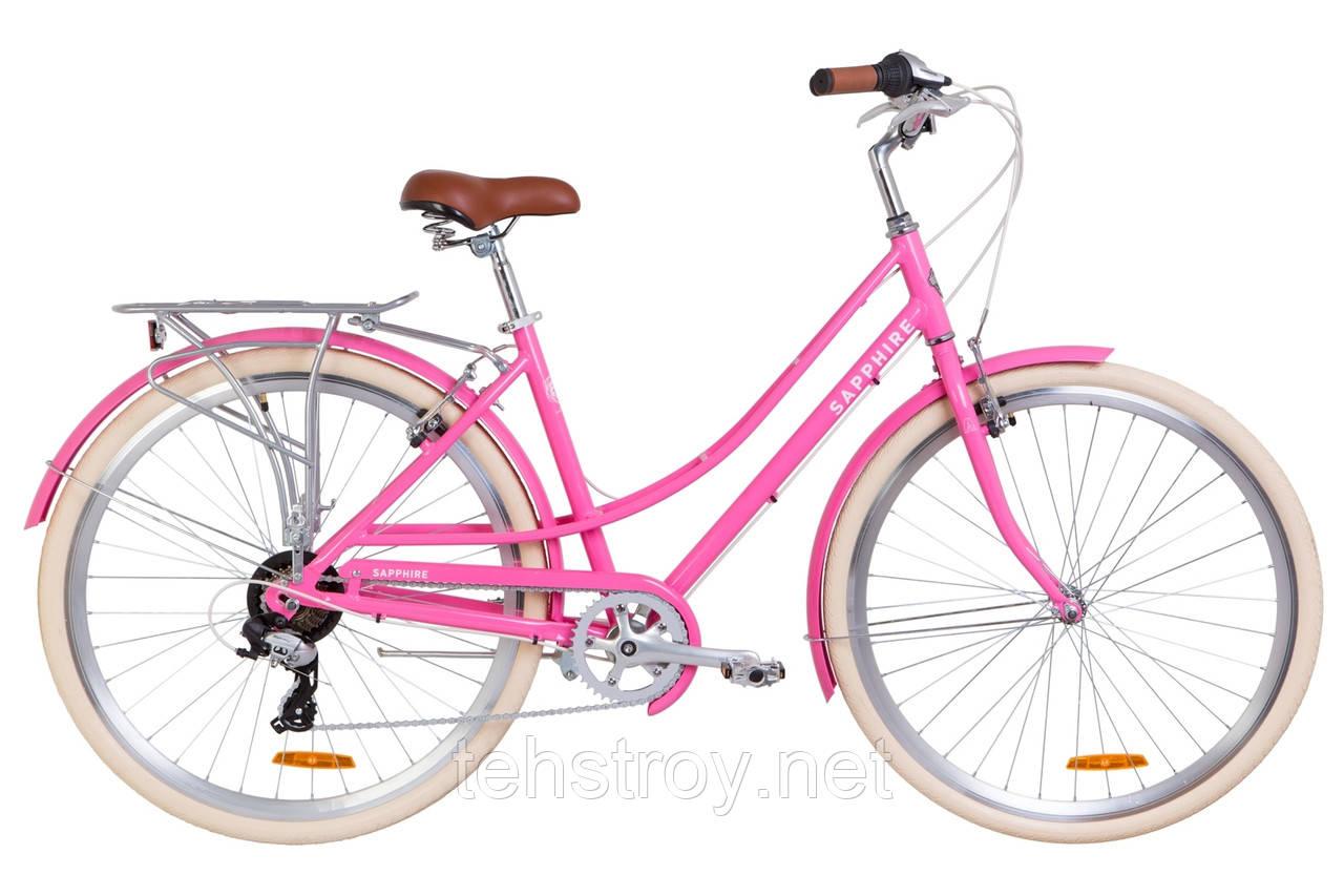 "Велосипед 28"" Dorozhnik SAPPHIRE 14G Vbr Al с багажником зад AI, с крылом St 2019 (сакура)"