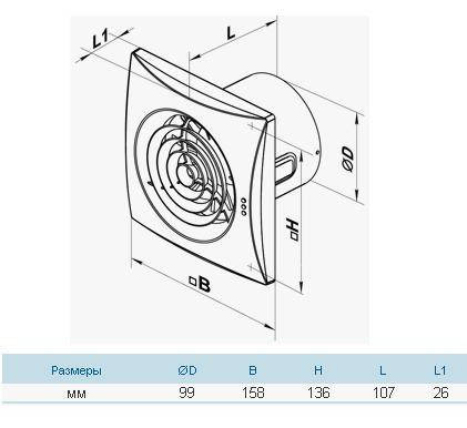 Бытовой вентилятор Вентс 100 Квайт ТН (оборудован таймером и датчиком влажности), фото 2