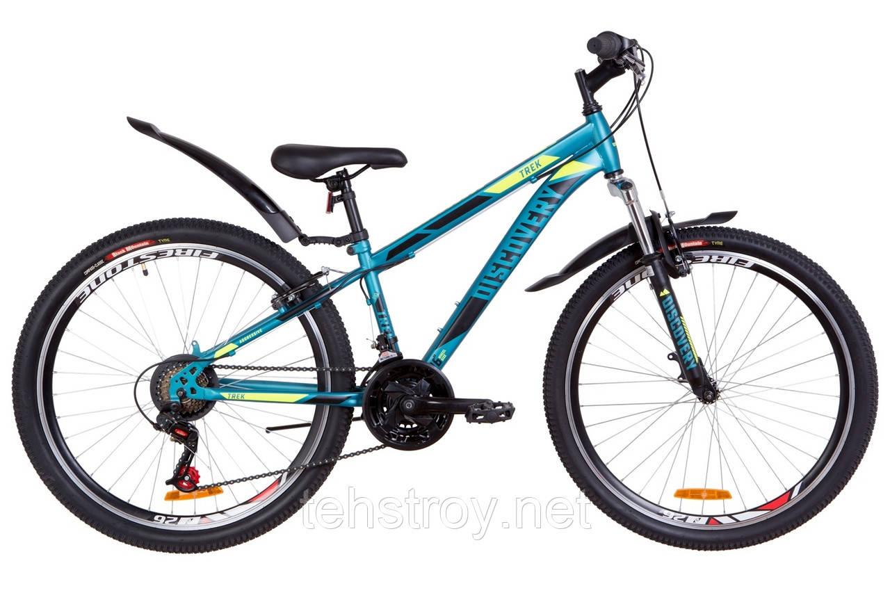 """Велосипед 26"""" Discovery TREK AM 14G Vbr St с крылом Pl 2019 (малахитовый с желтым (м))"""