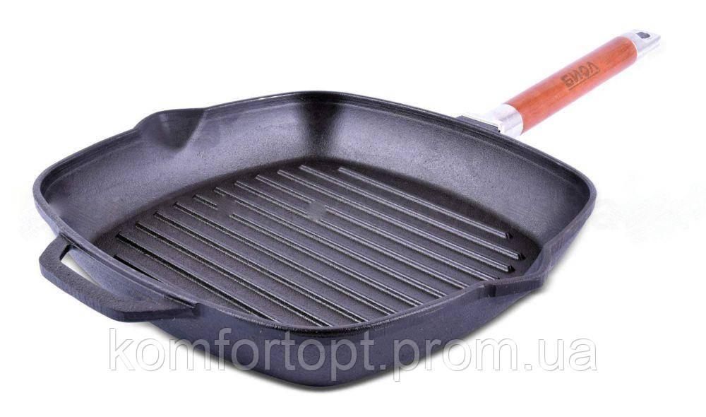 Сковорода гриль чугунная со съёмной ручкой Биол 26 см