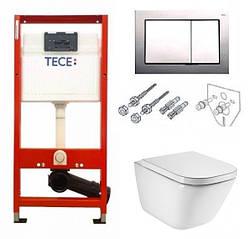Комплект унитаз Roca Gap Rimless с сиденьем soft close инсталляция Tece base 9400006
