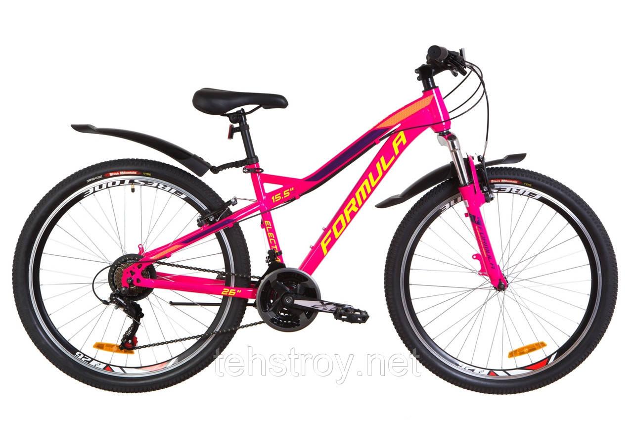 """Велосипед 26"""" Formula ELECTRA AM 14G Vbr St с крылом Pl 2019 (малиновый с салатным)"""