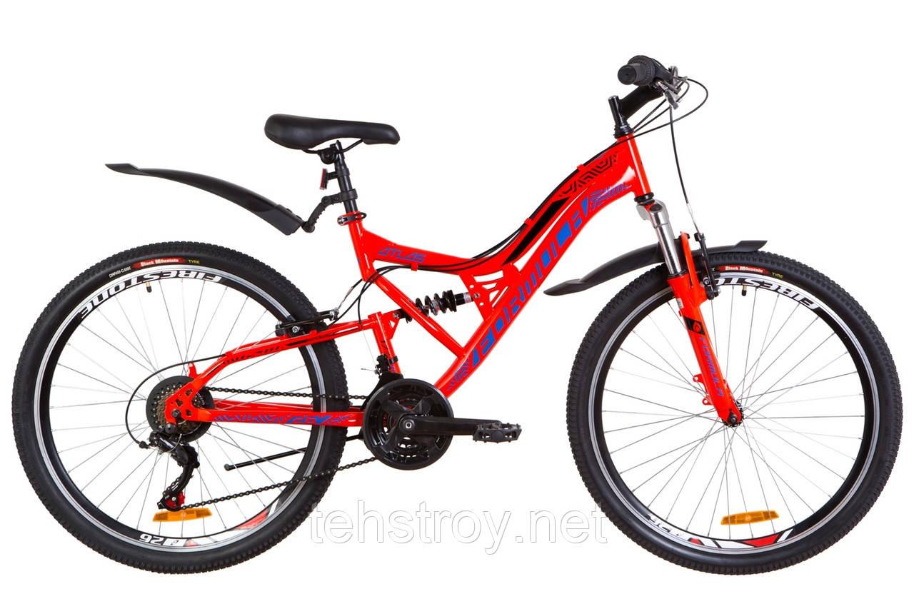 """Велосипед 26"""" Formula ATLAS AM2 14G Vbr St с крылом Pl 2019 (красно-синий)"""