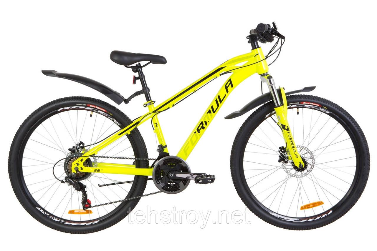 "Велосипед 26"" Formula DAKAR AM 14G HDD St с крылом Pl 2019 (желтый)"