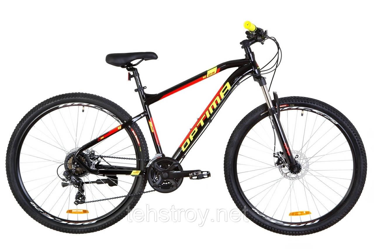 """Велосипед 29"""" Optimabikes F-1 AM 14G DD Al 2019 (черно-красный с желтым)"""