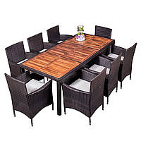 Комплект садовой мебели плетеной из ротанга и акации ESTEVAN Коричневый цвет